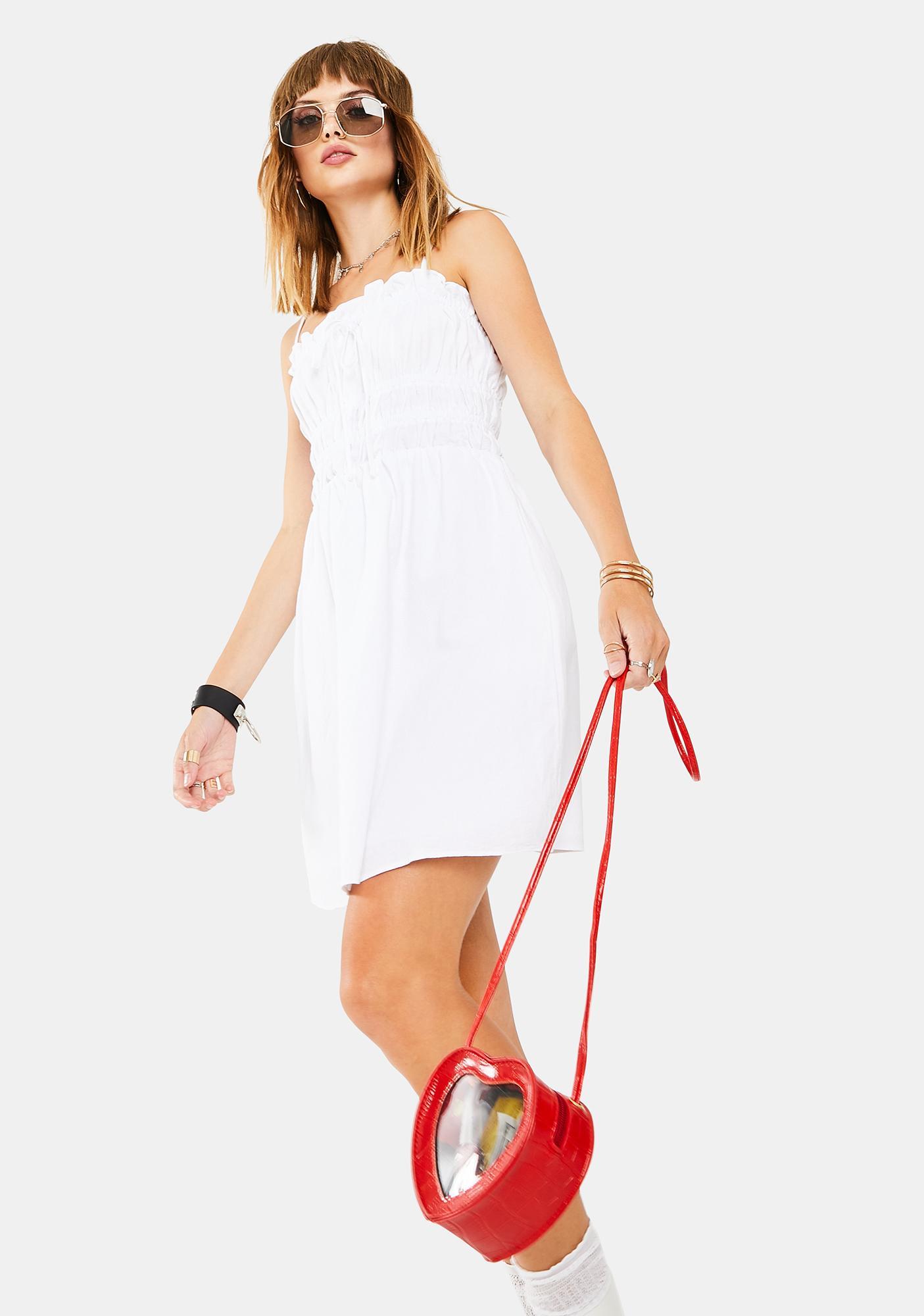 Glamorous White Scrunch Tube Dress