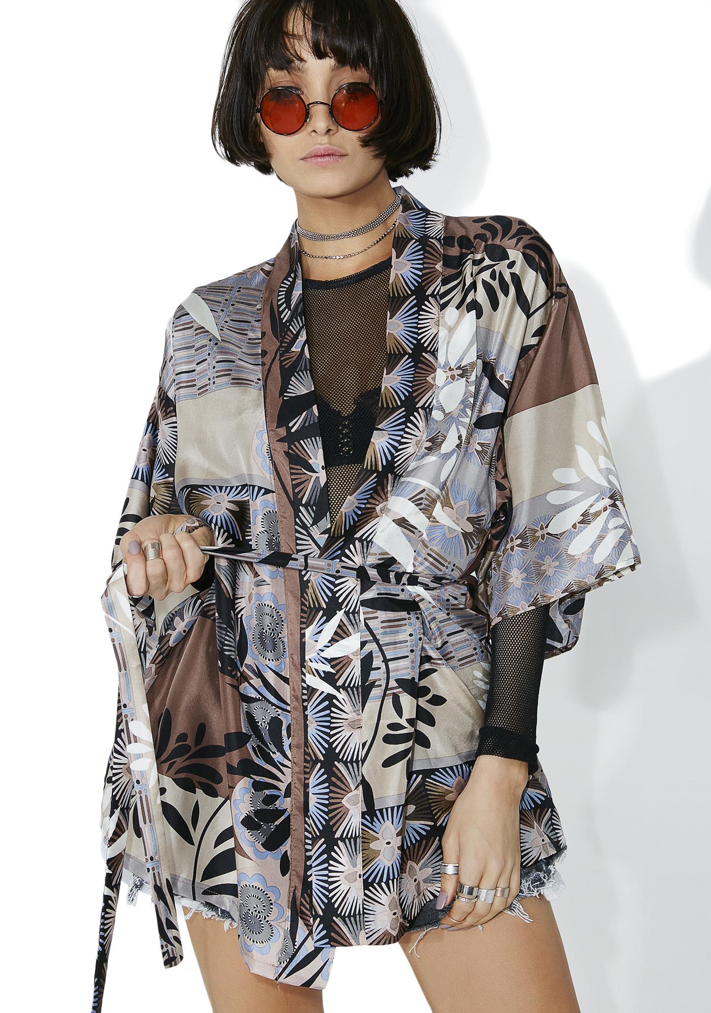 Silk Printed Tie Kimono