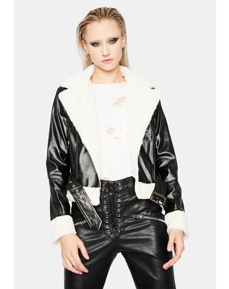 Sleek Chic Faux Fur Trim Moto Jacket