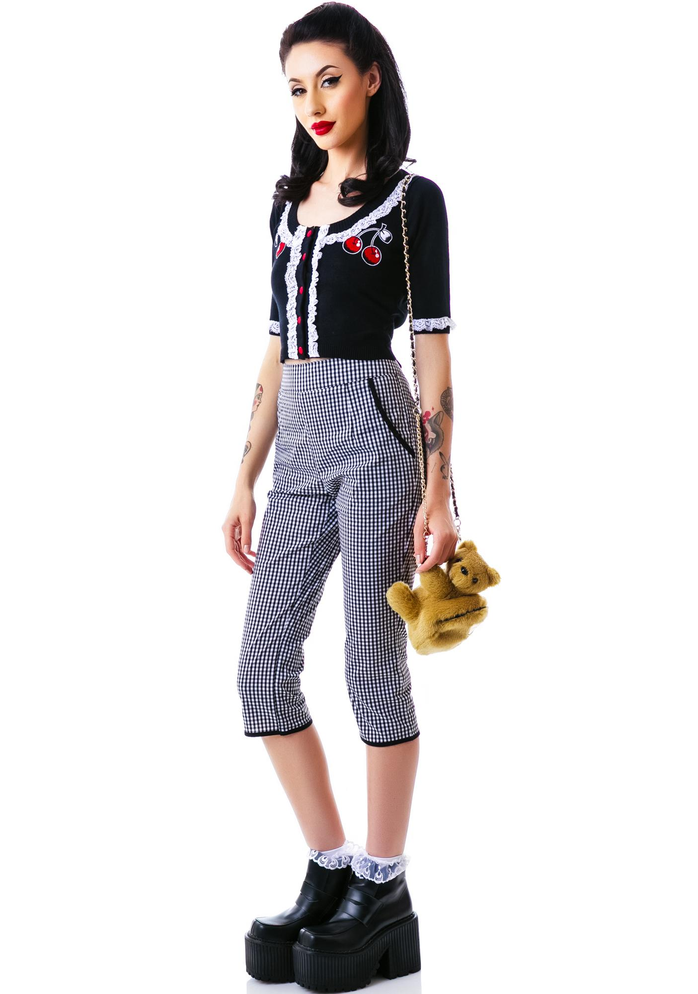 Sourpuss Clothing Bella Lace Cherry Cardigan