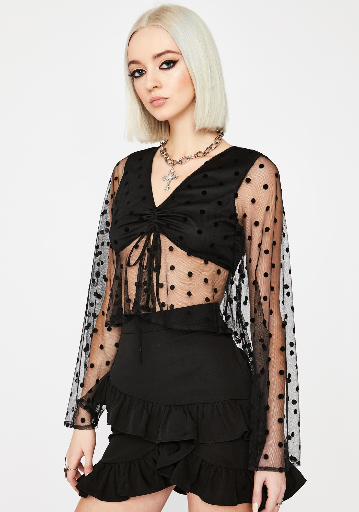 Coal All Dolled Up Sheer Crop Top