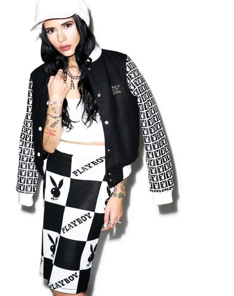 X Playboy Checker Knit Tube Skirt