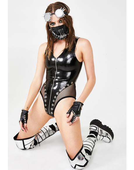 Moto Mistress Zip Up Bodysuit