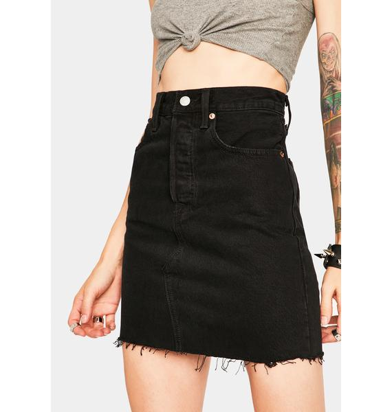 Levis Left Behind High Rise Deconstructed Mini Skirt