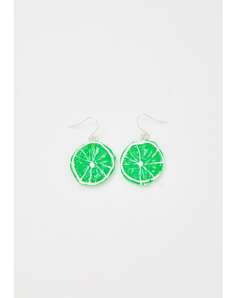 Sweet Or Sour Lime Earrings