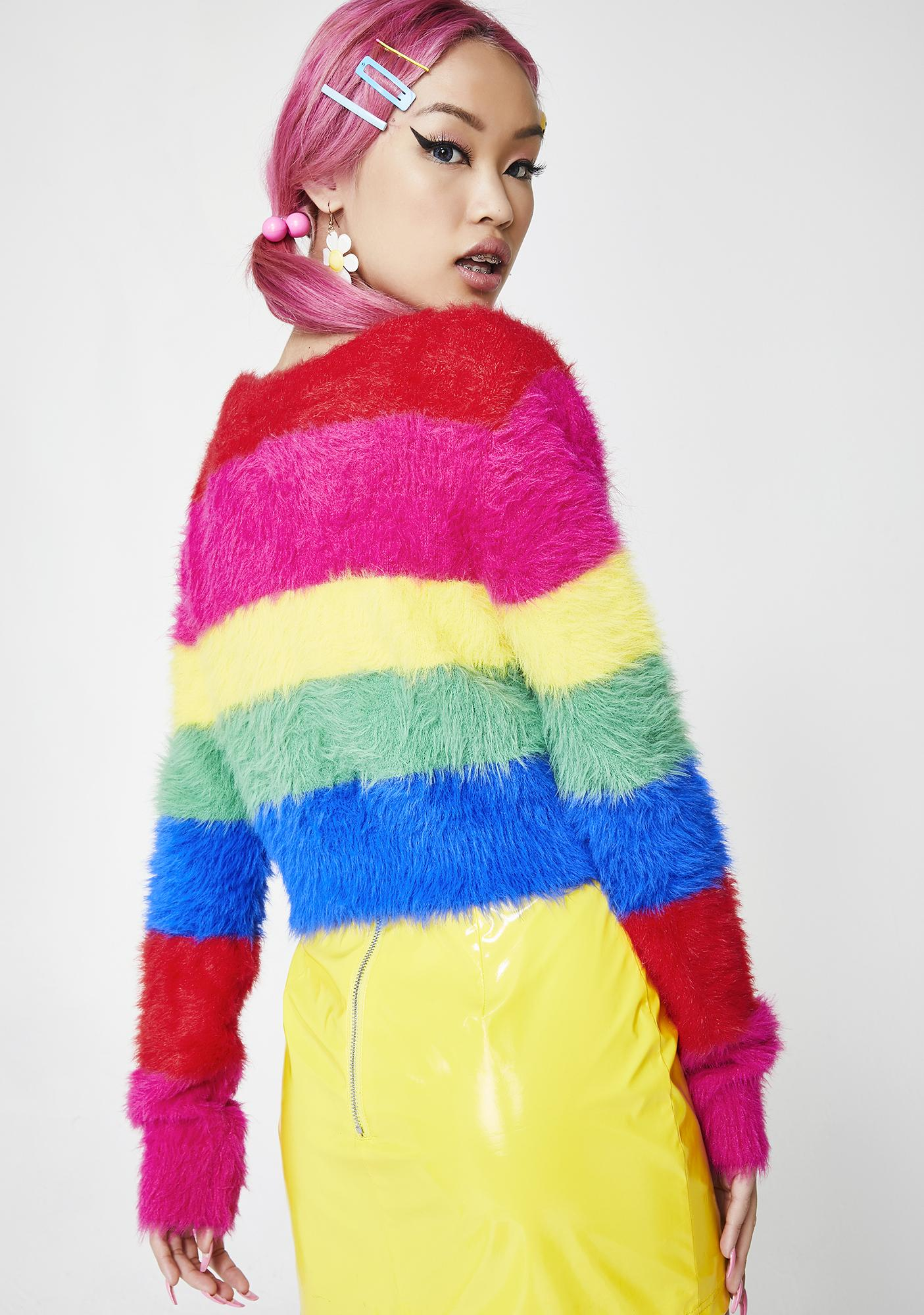 Lazy Oaf Fluffy Rainbow Cardigan Dolls Kill