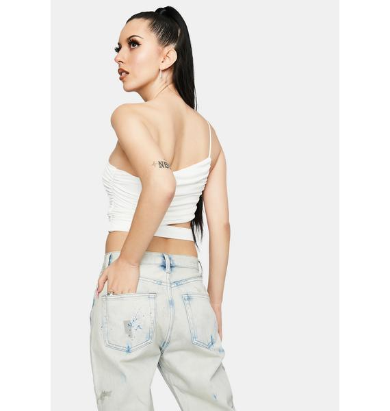 My Way Ruched Cut-Out Crop Tank
