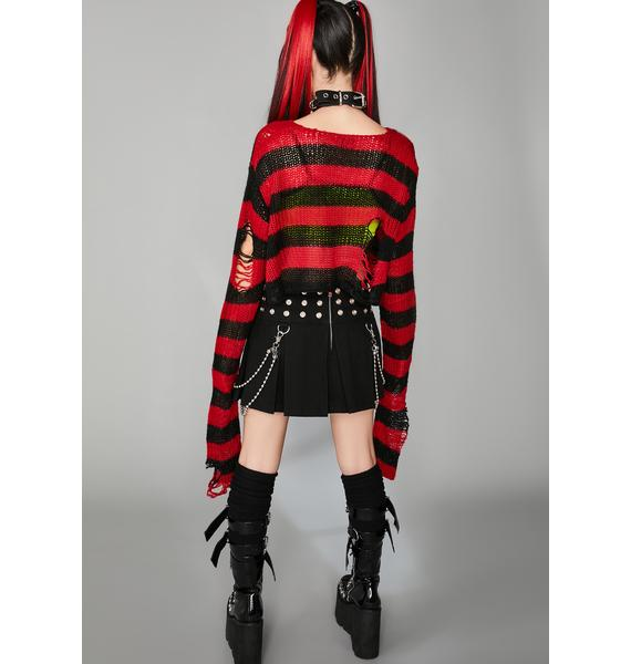 Widow Sinful Super Creep Striped Crop Sweater