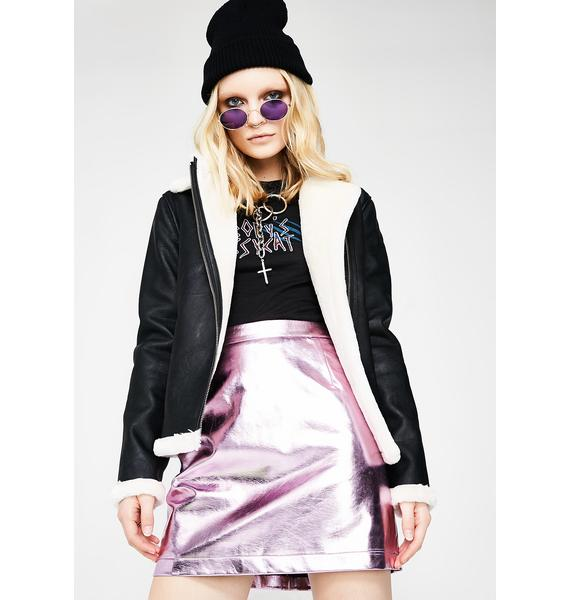 Glamorous Bubble Gum Night Out Metallic Mini Skirt