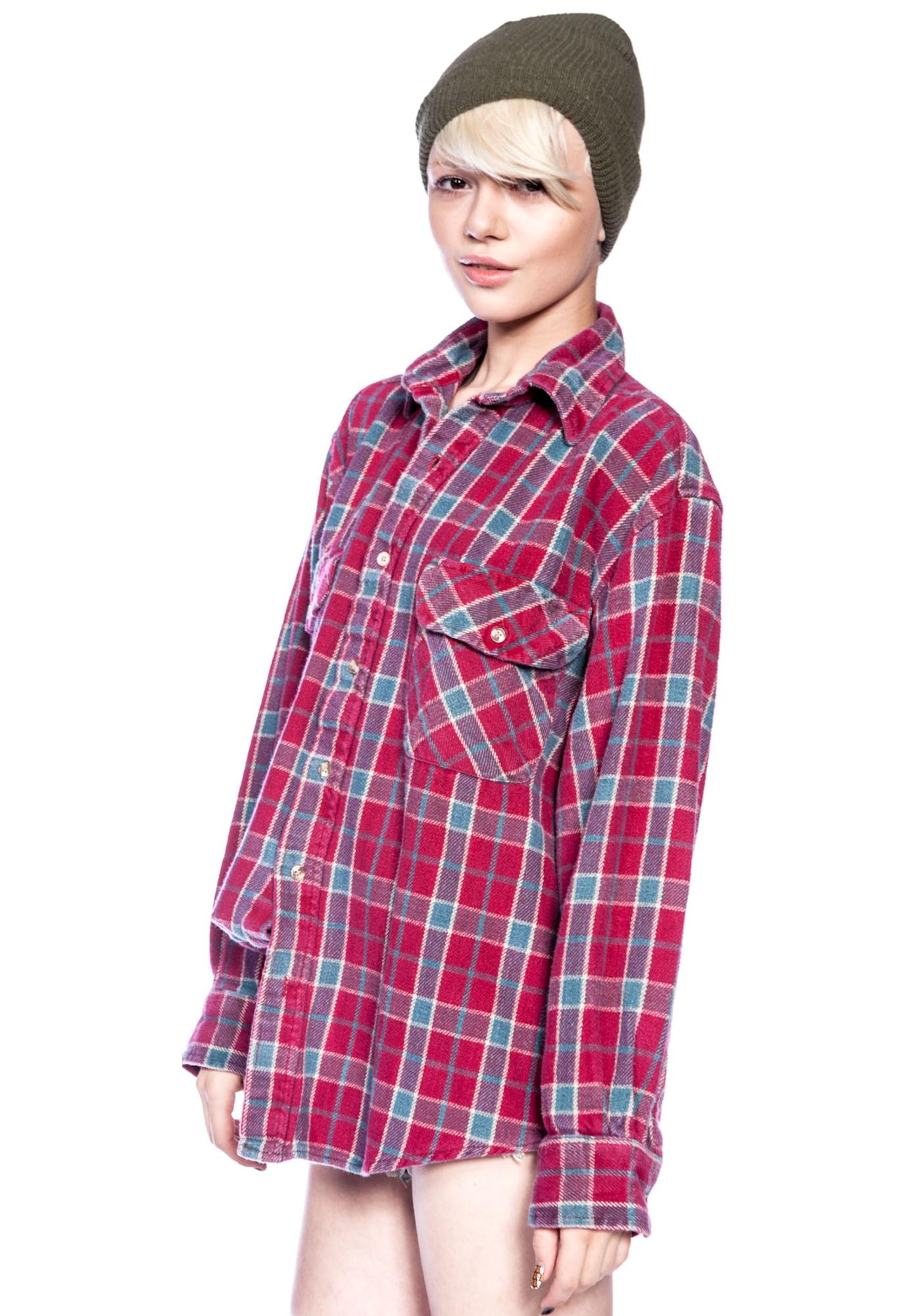 Jac Vanek I Hate Everyone Vintage Flannel Shirt