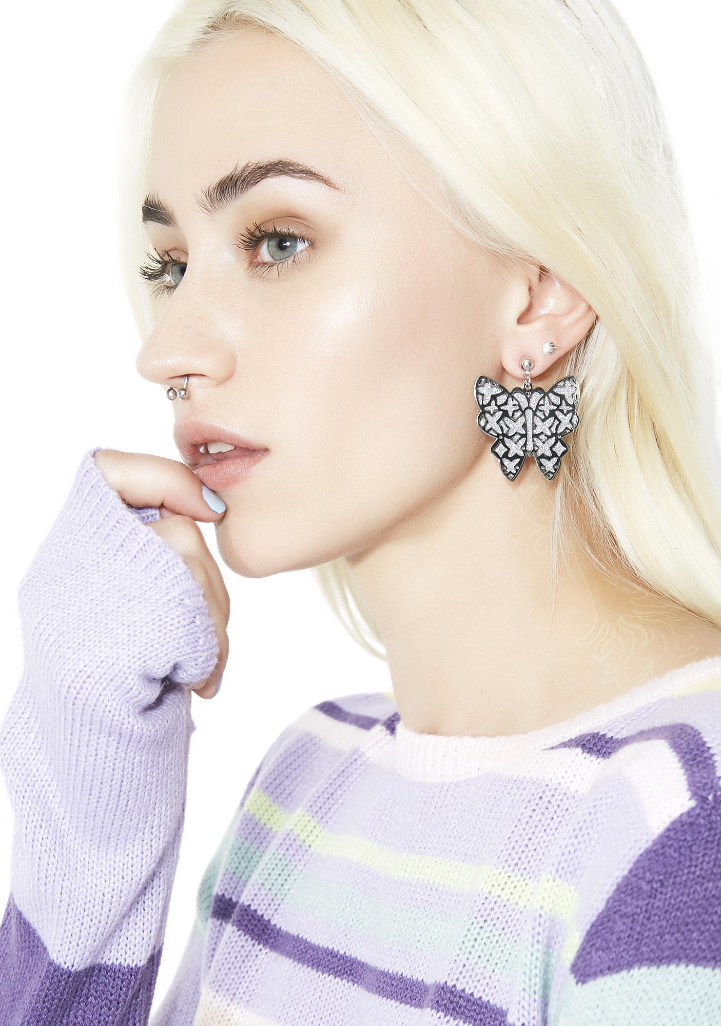 Silver Glitter Butterfly Earrings