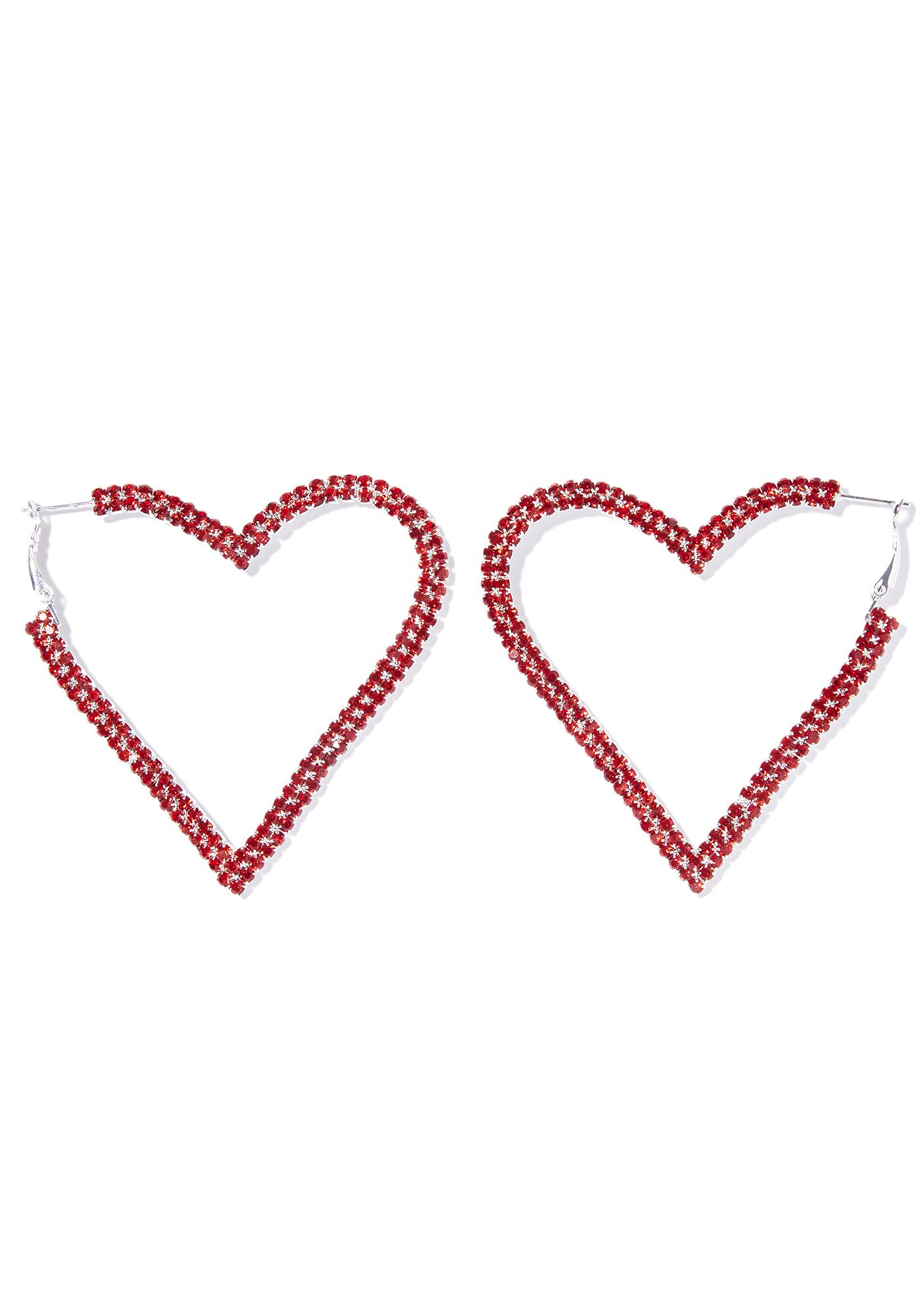 Open Heart Rhinestone Earrings