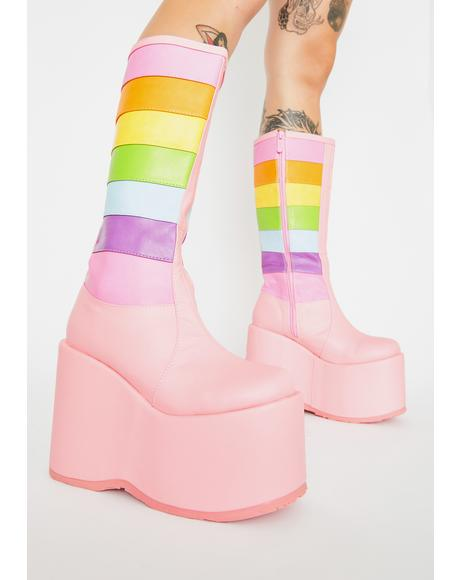 Unicorn Tea Party Platform Boots