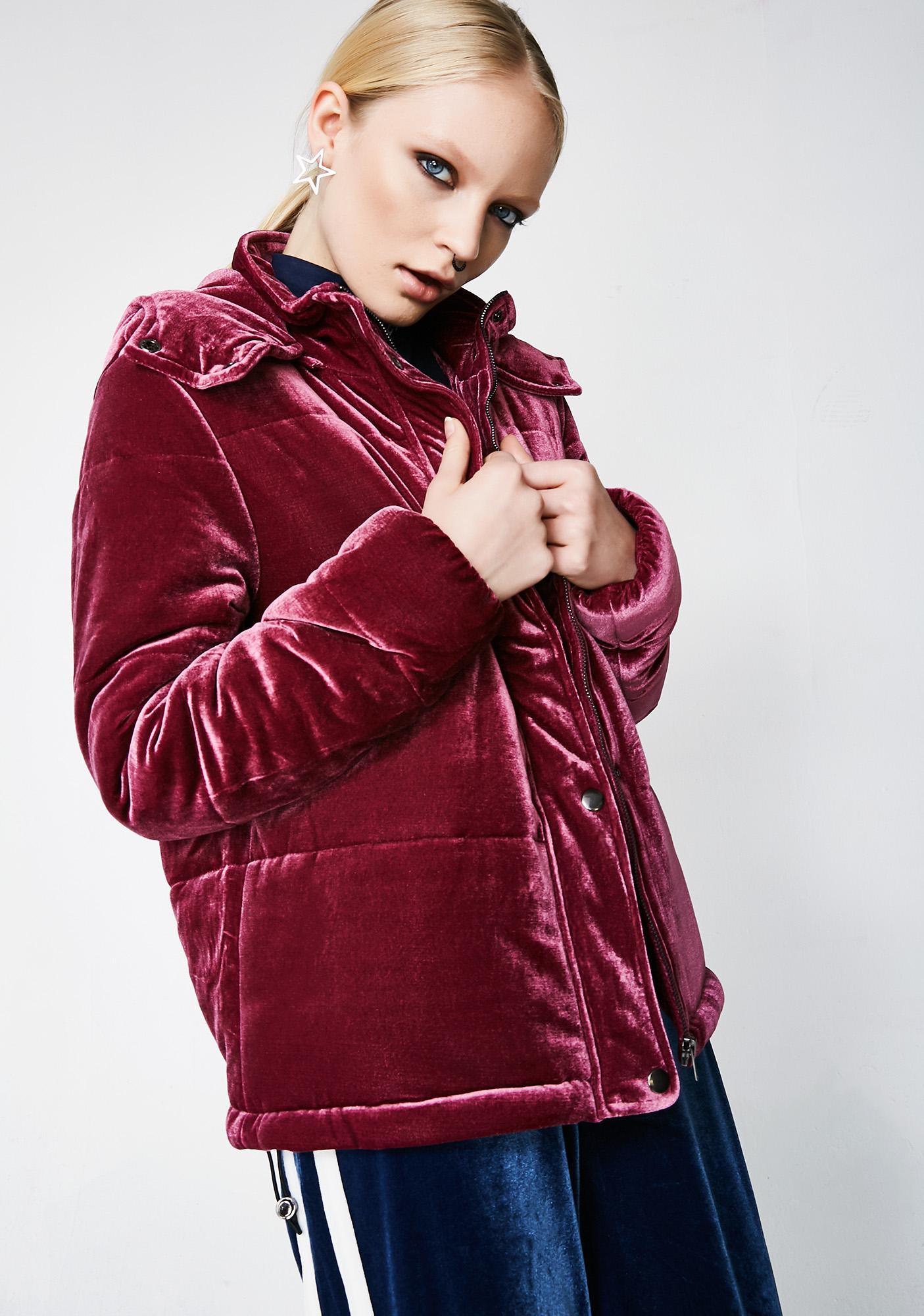 Glamorous Best Mistake Velvet Puffer Jacket