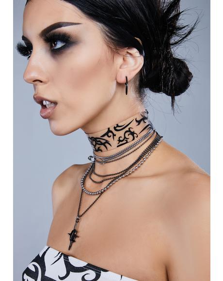 Kickdrum Tattoo Print Clear Choker