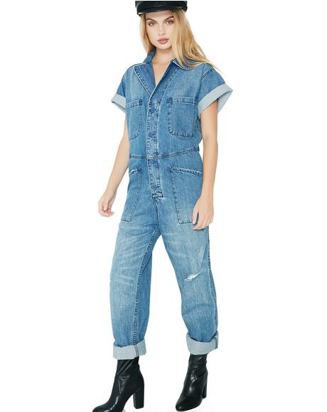 Deal Maker Denim Jumpsuit
