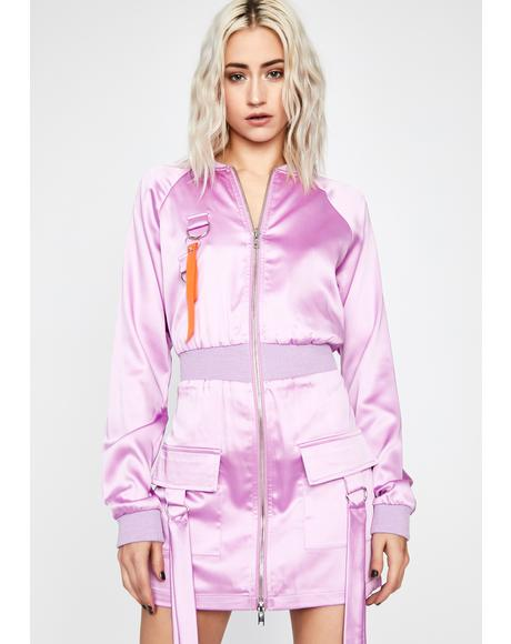 Lavender Fierce Response Bomber Dress