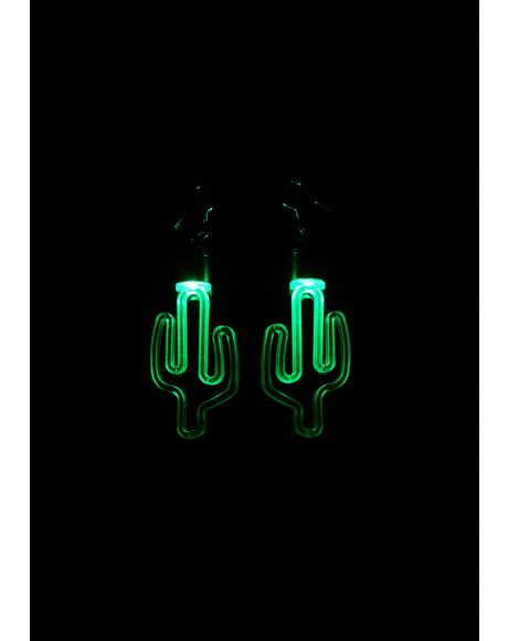 Light Up Cactus Earrings