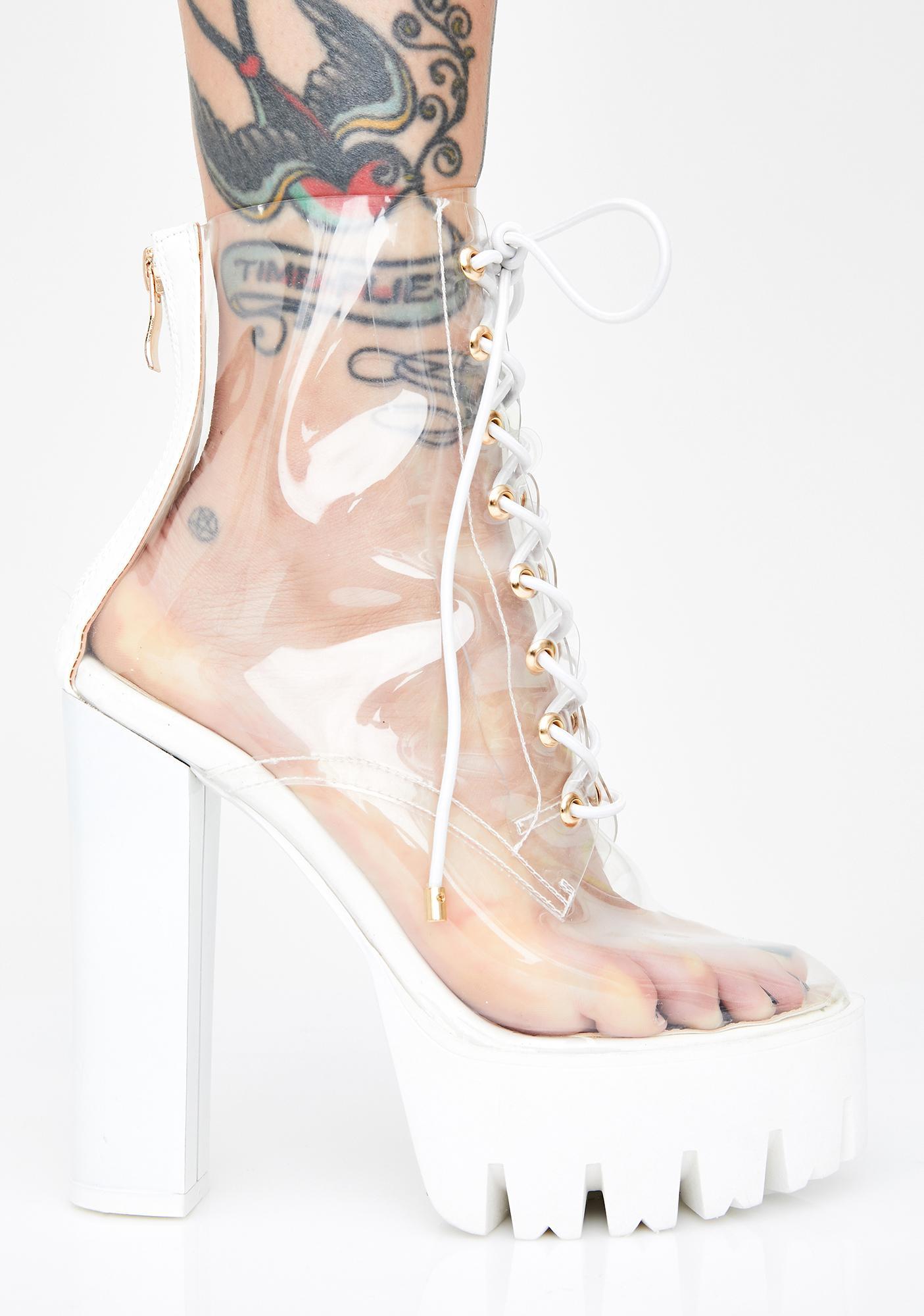 AZALEA WANG Icy Run Away With Me Clear Booties