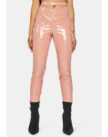 Peach Magnetic Matrix Vinyl Pants
