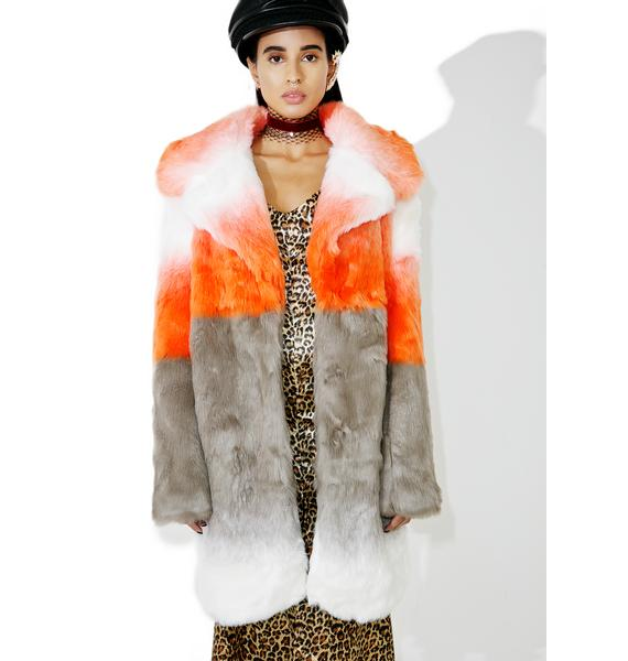 Glamorous Blurred Linez Faux Fur Coat