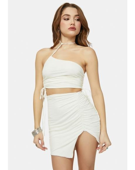 Blanc Save Tonight Crop Top & Skirt Set