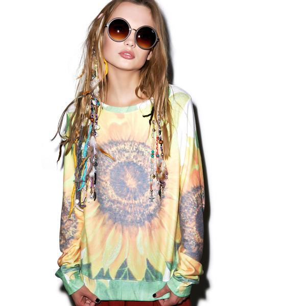 Wildfox Couture Big Sunflower Baggy Beach Jumper