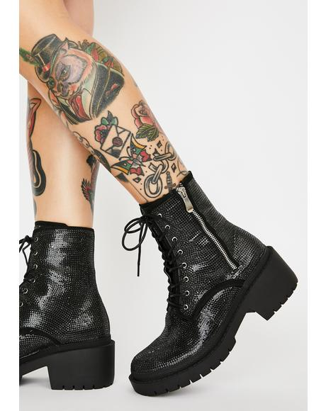 Dark Get The Likes Rhinestone Boots