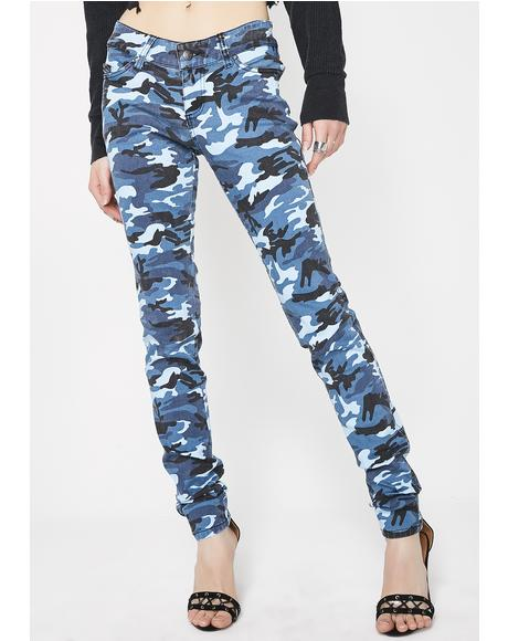 Blue Camo Skinny Jeans