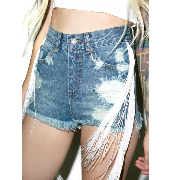 Civil Clothing Shawman Patched Denim Cut Off Shorts