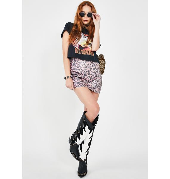 Free People Skinny Sequin Leopard Mini Skirt