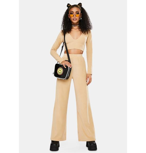 Motel Velvet Rib Tan Guan Crop Top
