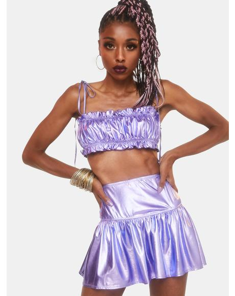 Goddess Hour Metallic Skirt Set