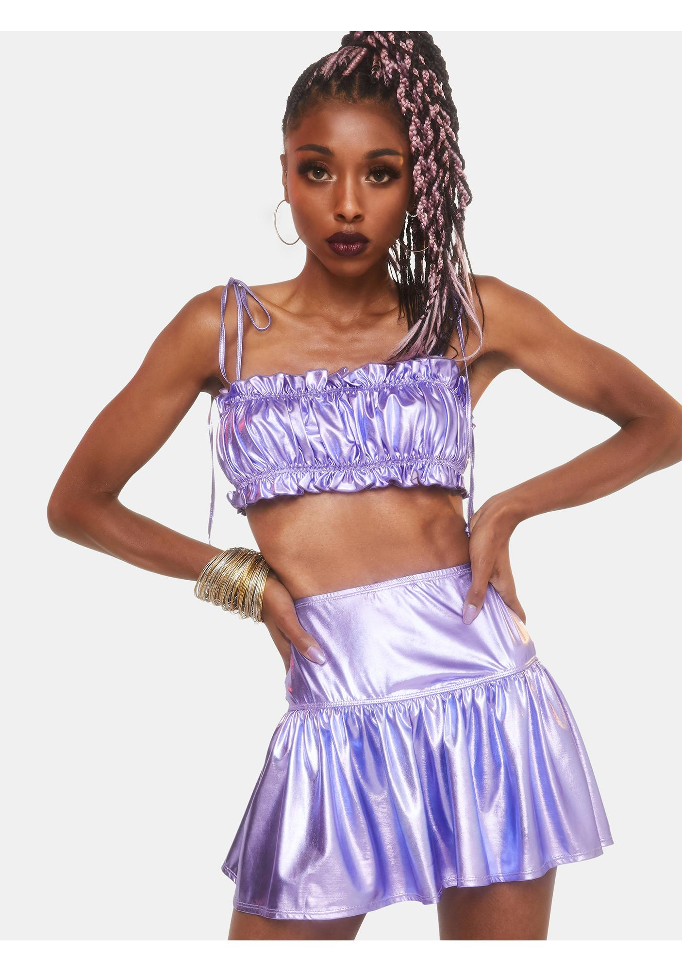 Club Exx Goddess Hour Metallic Skirt Set
