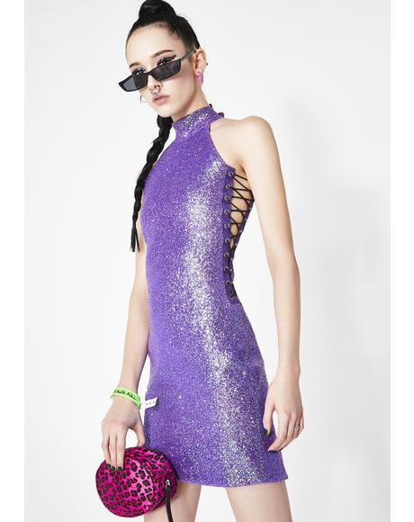 Kiki Purple Glitter Dress