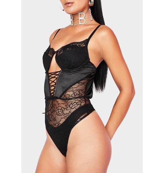 Noir Marriage Material Lace Bodysuit