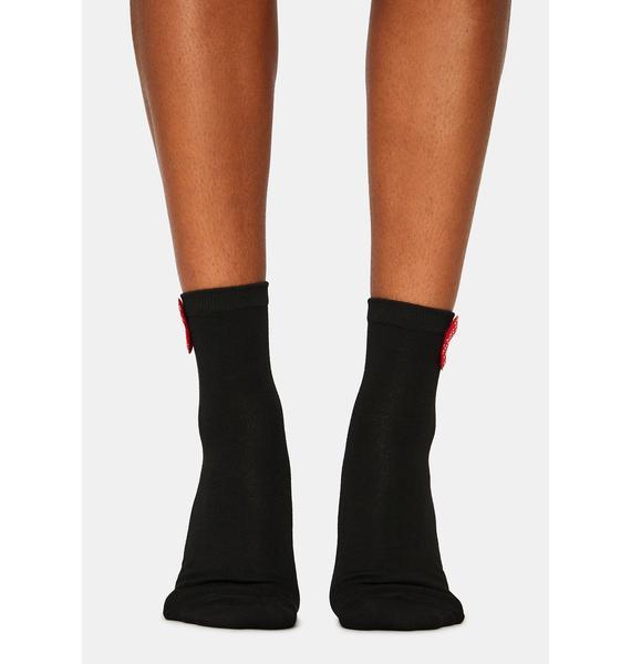 Noir Bow Believable Crew Socks