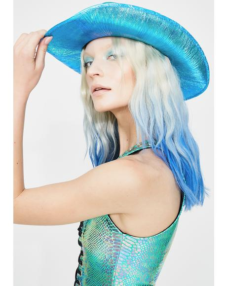 Metallic Aqua Cowboy Hat