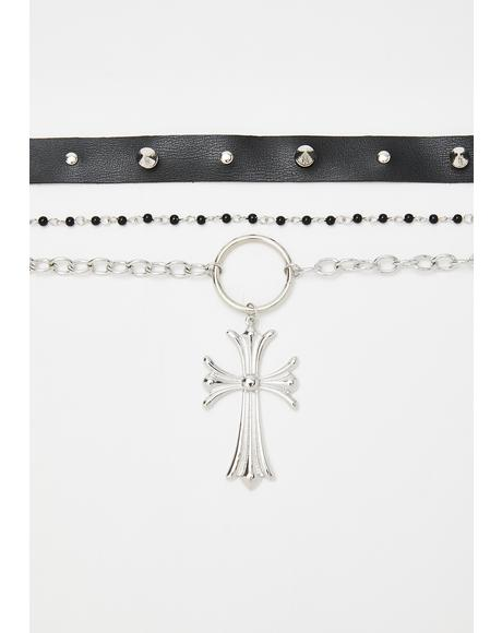 Why Aren't You Dead Cross Choker Set