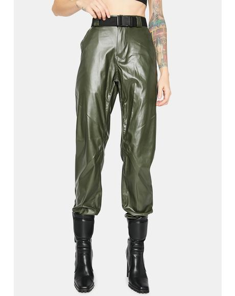 Olive Take The Lead Vegan Leather Joggers