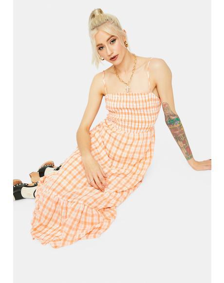 Heart Leads To You Plaid Midi Dress