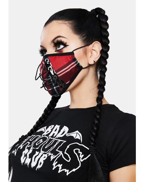 Plaid Lace Up Face Mask