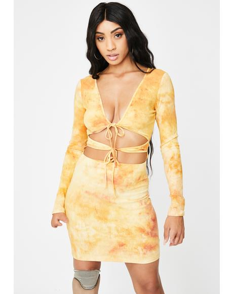 Yellow Tie Dye Gabriella Mini Dress