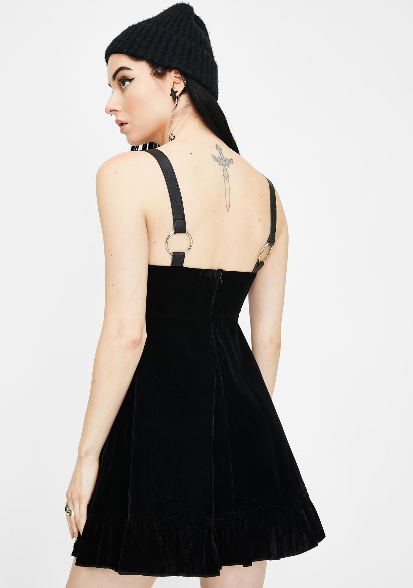 Punk Rave Velvet Pendulum Strap Dress