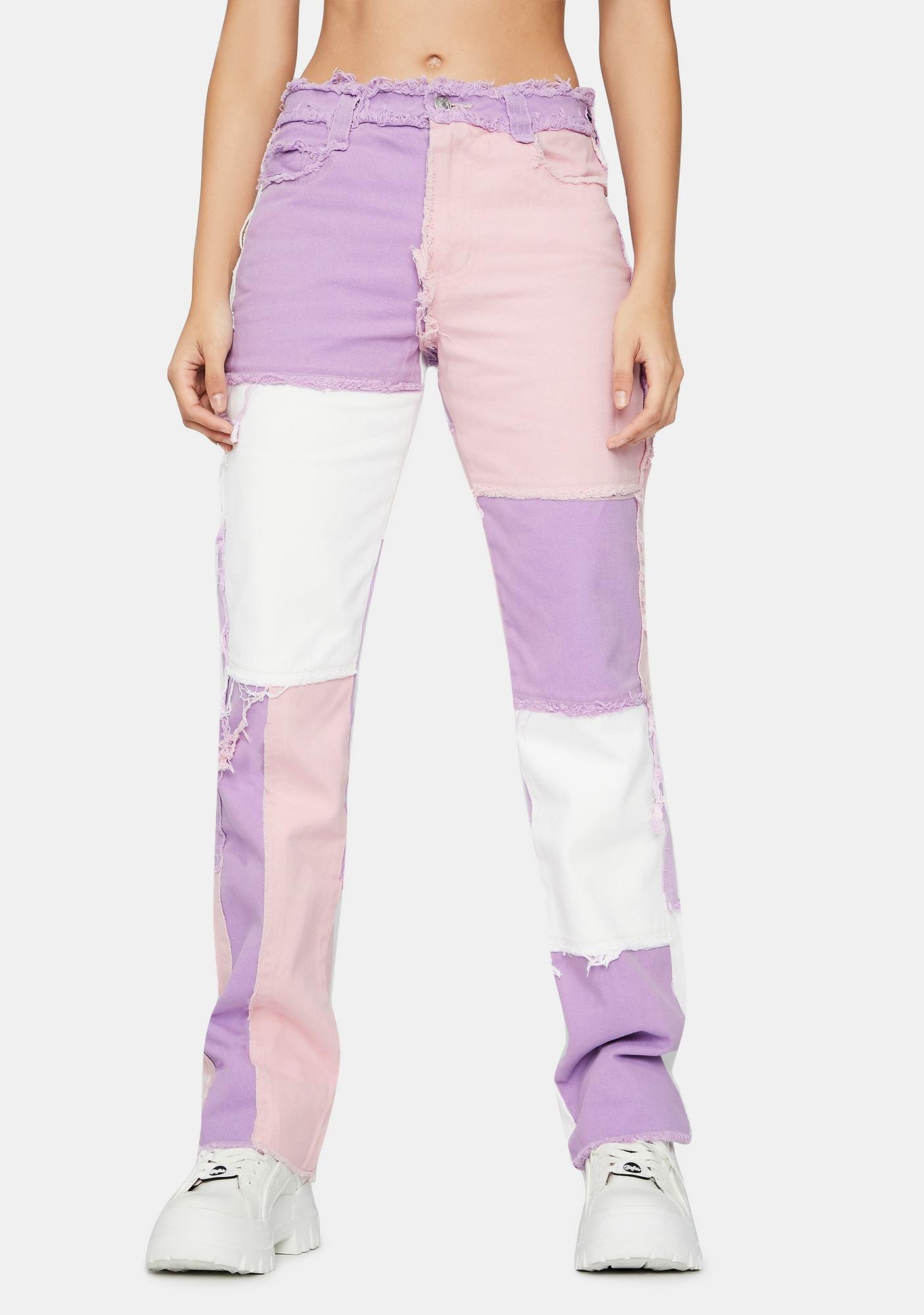 Jaded London Pastel Lilac Patchwork Denim Boyfriend Jeans