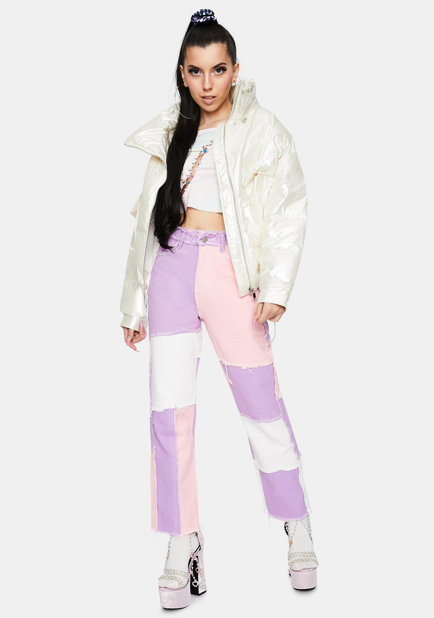 ZEMETA White Pearl Puffer Jacket