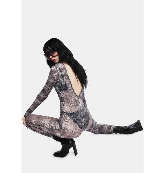 Kiki Riki Backless Mesh Snake Print Jumpsuit