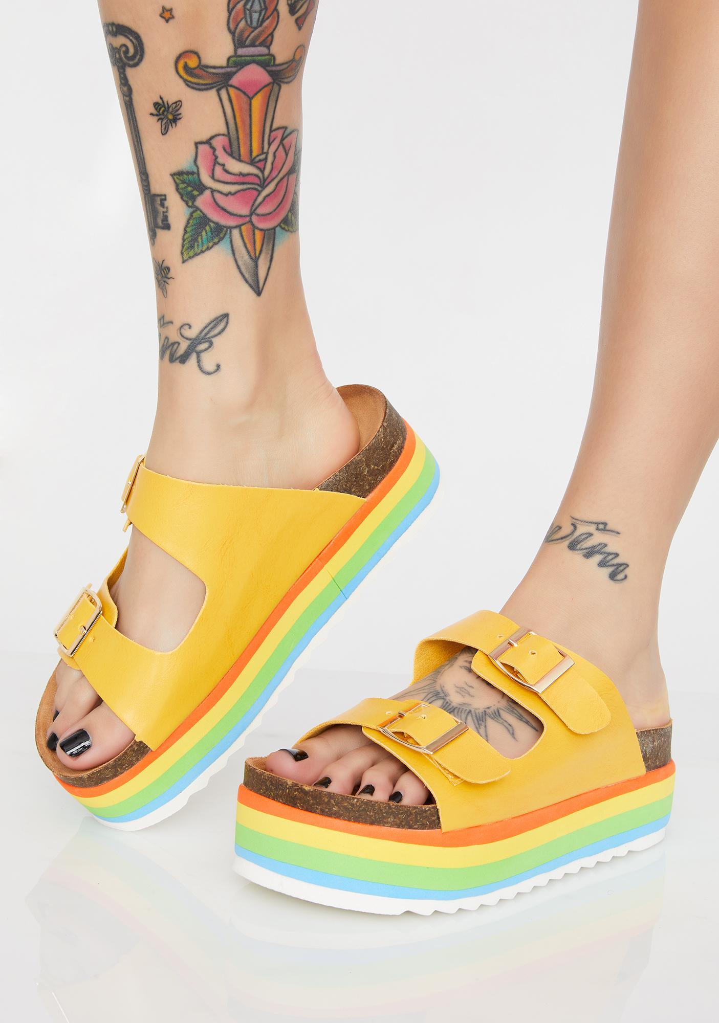 c97105341393 Chunky Rainbow Striped Platform Buckle Sandals