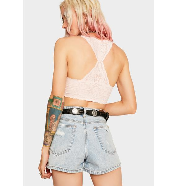 Free People Pink Gallon Lace Racerback Bralette