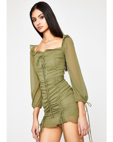Olive Lose My Breath Mini Dress